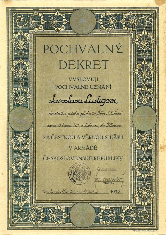 Pochvalný dekret československé armády