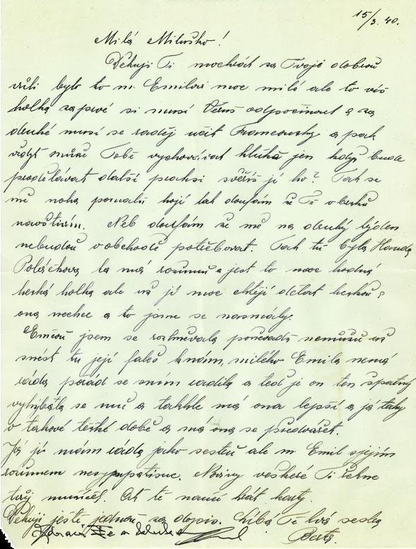 Dopis Berty Ledererové z 15. března 1940
