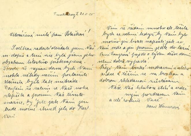 Dopis Marie Weinerové z 21. května 1925