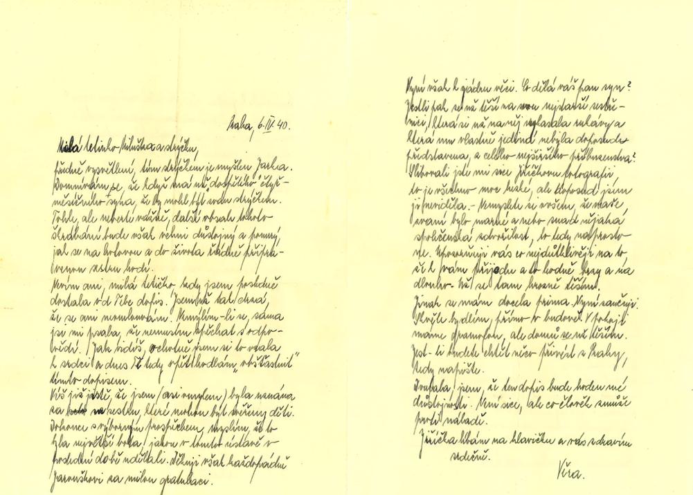 Dopis Věry Ledererové ze 6. dubna 1940